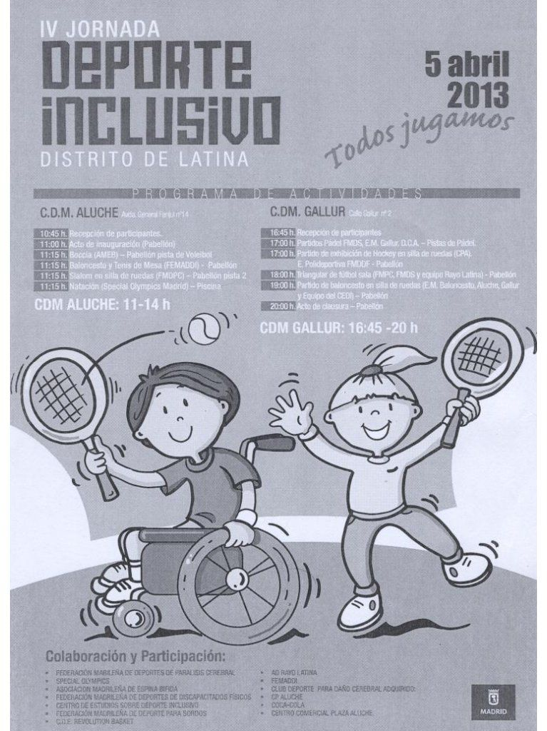 La FMDDF colabora con la IV Jornada de Deporte Inclusivo Distrito de Latina