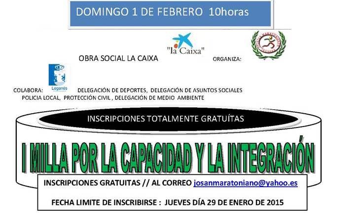 El club de atletismo Maratonianos de Leganés organiza la I Milla por la Capacidad y la Integración