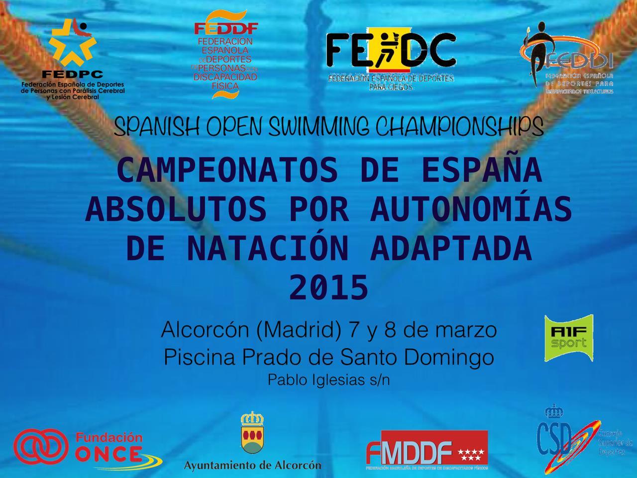 Este fin de semana se celebran en Madrid los Campeonatos de España absolutos por autonomías de natación adaptada 2015